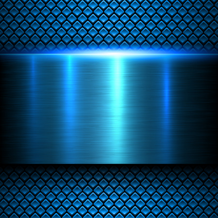 metal sheet: Background blue metal texture, vector illustration.