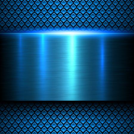 fibra de carbono: Fondo de texturas de metal azul, ilustración vectorial.
