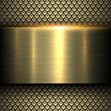 fibra de carbono: Textura del fondo del metal del oro, ilustración vectorial.
