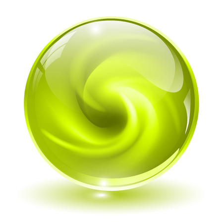 liquid crystal: 3D crystal, glass sphere, green with abstract spiral shape inside, vector illustration.