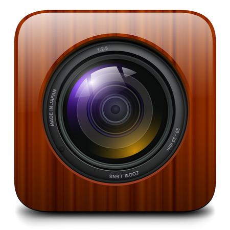 шпон: Фотокамера икона, дизайн вектор. Иллюстрация