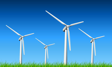 windpower: Wind turbines, grass and blue sky, vector background.