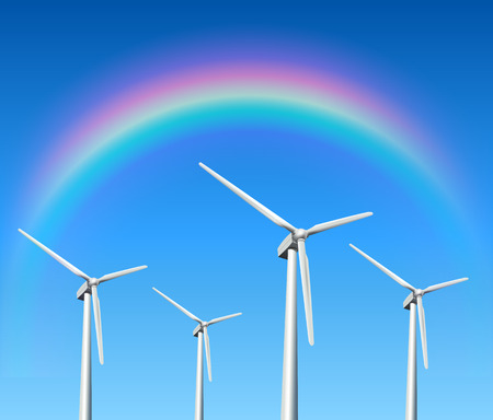 windpower: Wind turbines, rainbow over blue sky, vector background.