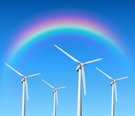 spinning windmill: Wind turbines, rainbow over blue sky, vector background.