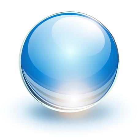 Glazen bol, blauwe vector bal.