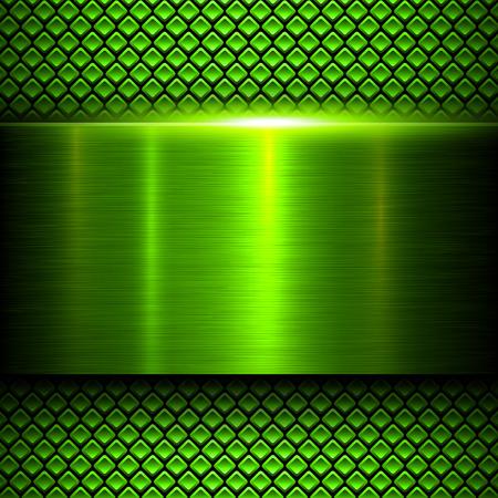 fibra de carbono: Fondo de texturas de metal verde, ilustración vectorial. Vectores