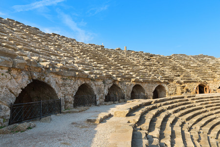 architectural architectonic: Amphitheatre ancient ruins in Side Turkey.