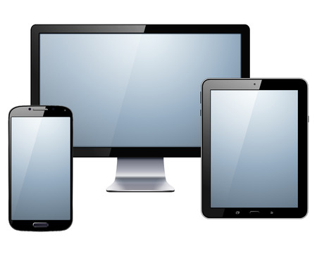 devices: Electronic devices set - tablet, smartphone and  monitor, vector illustration.