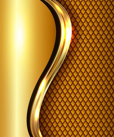Abstract business background gold with golden metallic wave, elegant vector illustration. Ilustração