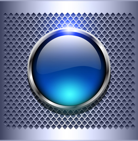 blue buttons: Shiny button blue glossy metallic, vector illustration Illustration