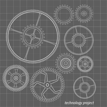 cooperate: Background technology with gears and cogwheel, vector illustration. Illustration