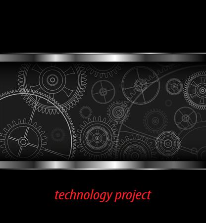 rackwheel: Background with technology gears, vector illustration. Illustration