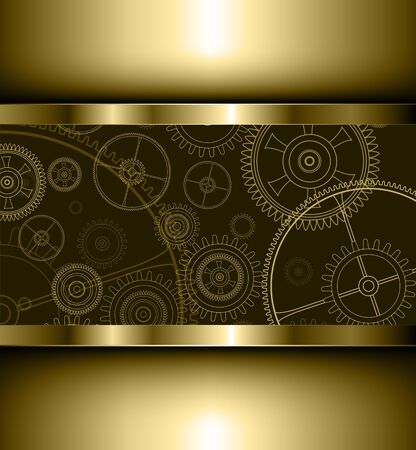 rackwheel: Background with technology gears golden, vector illustration.