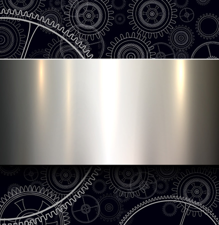 Background with technology gears and metallic shiny banner, vector illustration.