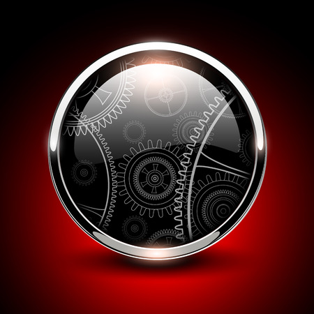 Shiny button glossy metallic with vector machinery inside. Vector