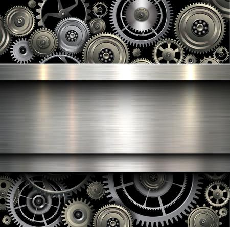 textura tierra: Metálico Fondo con los engranajes de tecnología, ilustración vectorial. Vectores