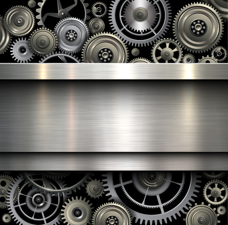 Background metallic with technology gears, vector illustration. Vettoriali