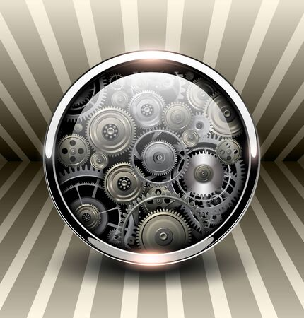 shiny button: Background 3d, shiny button with machinery gears inside, vector illustration.