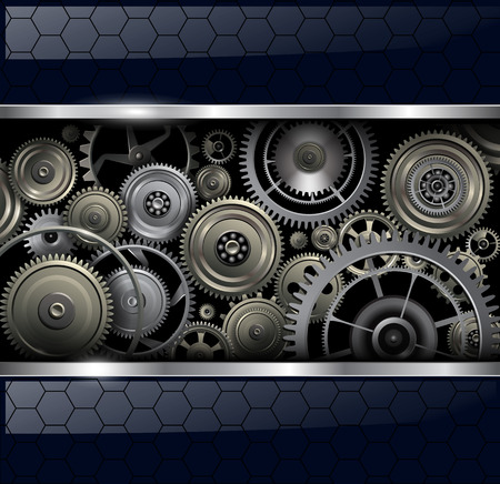 clockwork: Abstract background with technology machine gears, vector illustration.