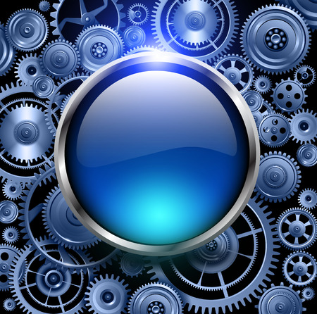 rackwheel: Blue glossy button on gears background, vector illustration.