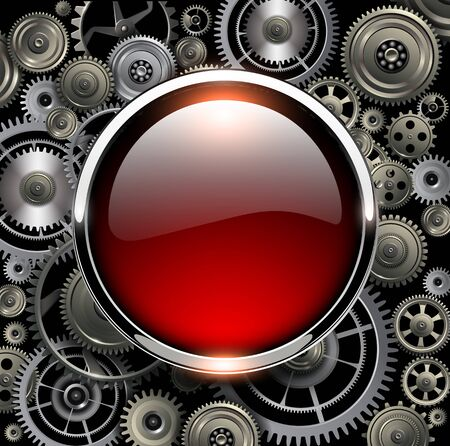 Red glossy button on gears background, vector illustration. Vector