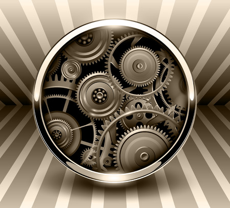rackwheel: Background 3d, button with machinery gears inside, vector illustration.