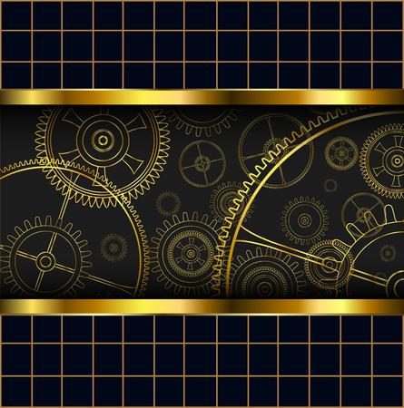rackwheel: Abstract background with technology machine gears gold, vector illustration.