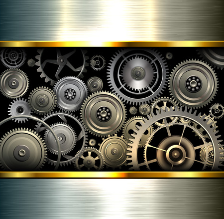 maquinaria pesada: Resumen de fondo metálico plateado cromado con engranajes, ilustración vectorial.