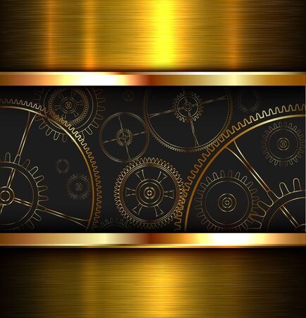 metal: Abstract background metallic gold with gears, vector illustration. Illustration