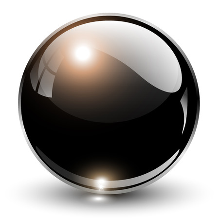 shiny black: 3D crystal sphere illustration. Illustration