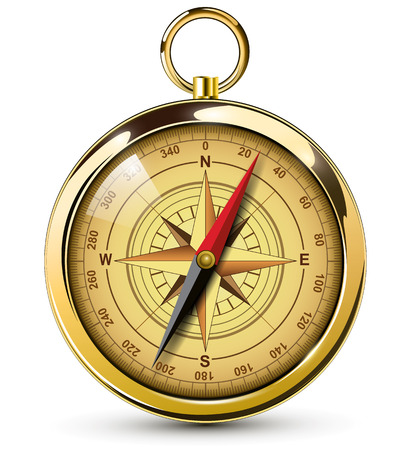 Old compass with windrose Illustration.