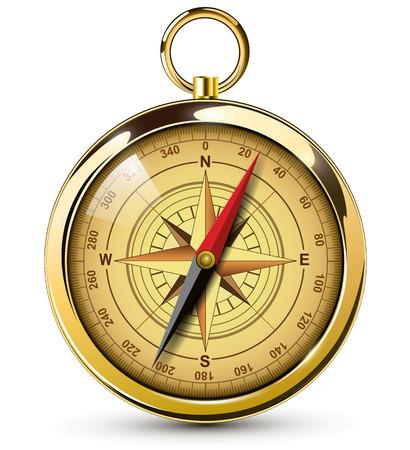 Oude kompas met windrose Illustratie.
