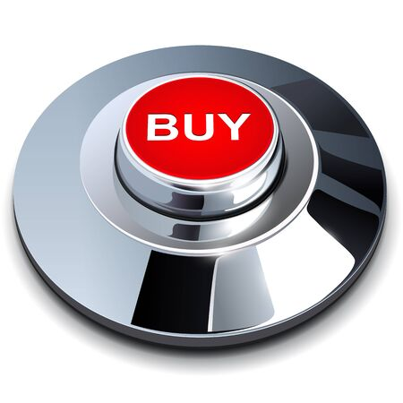 buy button: Buy button 3d red metallic chrome. Illustration