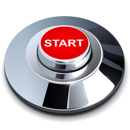 Start button 3d red metallic . Vector