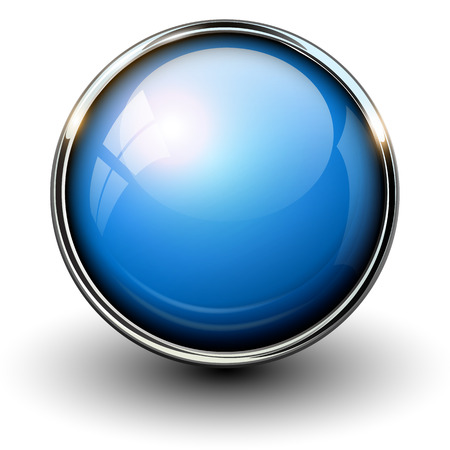 Blue shiny button with metallic elements, vector design for website. Stock Illustratie