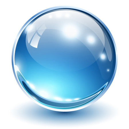 glass ball: 3D glass sphere blue, vector illustration.
