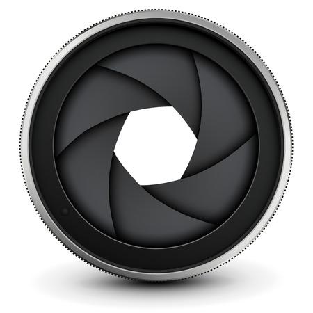 video shooting: Camera lens shutter, vector illustration.
