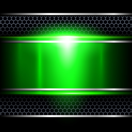 shiny metal background: Background abstract green metallic, vector illustration. Illustration