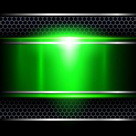 fibra de carbono: Fondo abstracto de color verde metálico, ilustración vectorial.