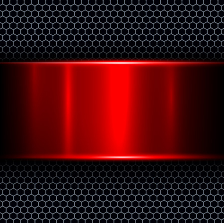 Abstract background with red metal texture banner, vector illustration. Çizim
