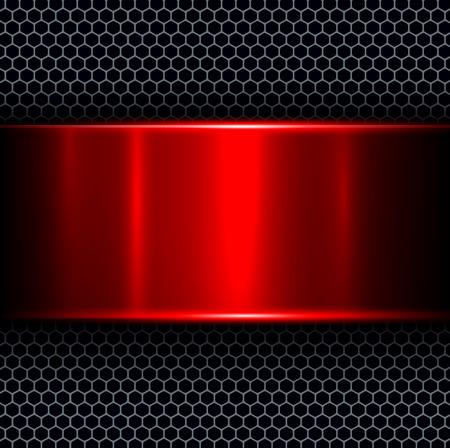 abstrakte muster: Zusammenfassung Hintergrund mit roten Metall Textur-Banner, Vektor-Illustration.