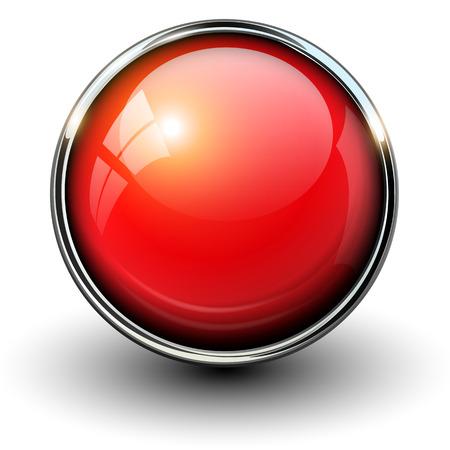 klik: Rode glanzende knop met metalen onderdelen, vector ontwerp voor de website.