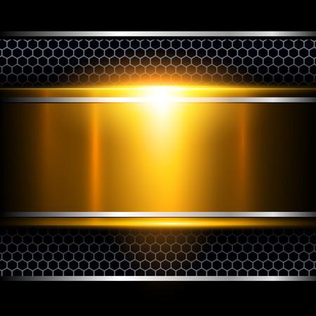 metallic background: Background abstract gold metallic, vector illustration.