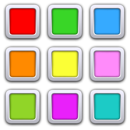 square buttons: Square blank icons in flat style with shadows. Vector illustration 3D buttons  web design elements. Illustration