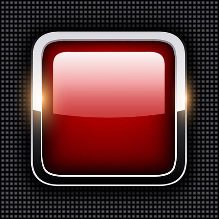 square buttons: Empty icon with chrome metal frame, Rounded square red button with dots texture background, vector illustration.