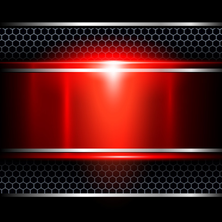 smooth surface: Background abstract red metallic, vector illustration.