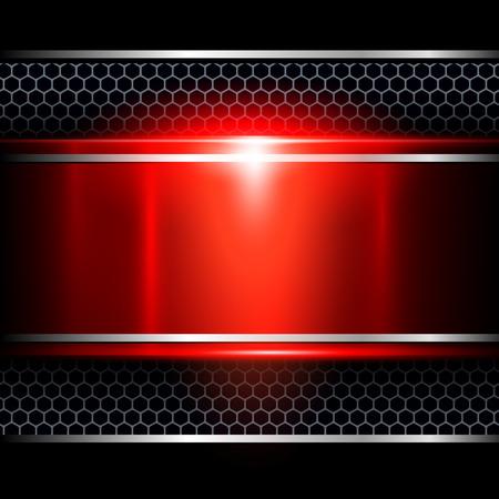 fibra de carbono: Fondo abstracto rojo metálico, ilustración vectorial.