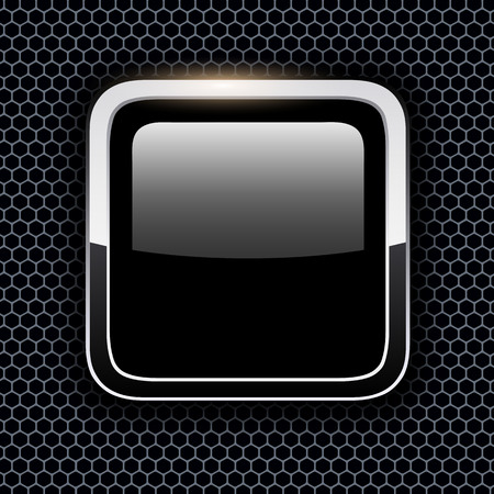 Empty icon with chrome metal frame, Rounded square black button with hexagon texture background, vector illustration. Illustration