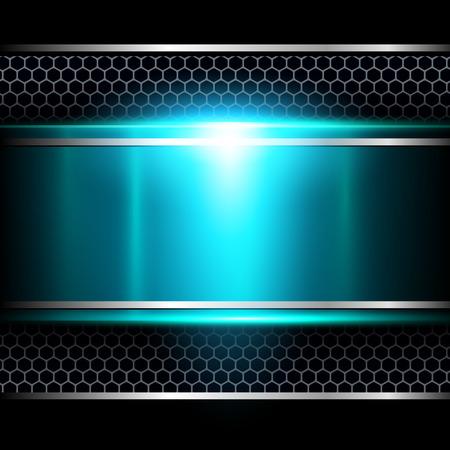 Achtergrond blauw metallic Stock Illustratie