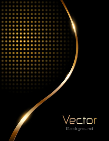 Abstract background black with gold wave and dotted pattern Ilustracja